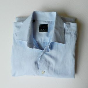 David Donahue Mini Gingham Blue French Cuffs Shirt
